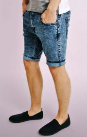 Slim Fit Acid Wash Denim Shorts